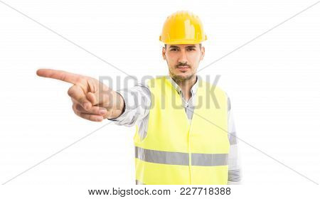 Engineer Or Architect Showing No Or Refusal Gesture.