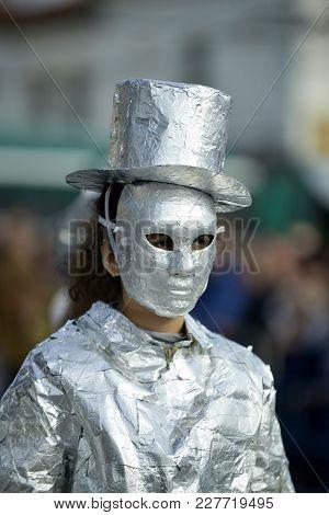Unrecognizable Woman Wrapped With Aluminium Foil,