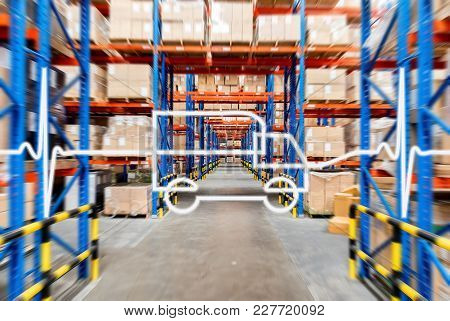 Warehouse Storage Of Retail Merchandise Shop.inventory Management Concept, The Pulse Is The Shape Of