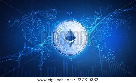 Ethereum cash coin on hud background with bull trading stock chart and polygon world map. Blockchain technology network token grows in price on stock market.