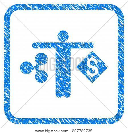 Person Compare Ripple Dollar Rubber Seal Stamp Imitation. Icon Vector Symbol With Grunge Design And