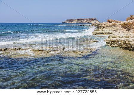 Cape Drepanon. Cyprus Landscape. Mediterranean Sea