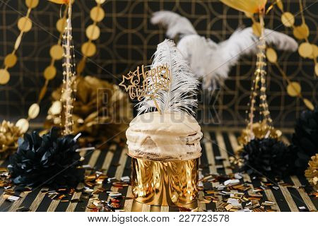 Birthday Party Cake With Golden And Black Decor Various Balloons And Pom-pom. Happy Birthday Wooden