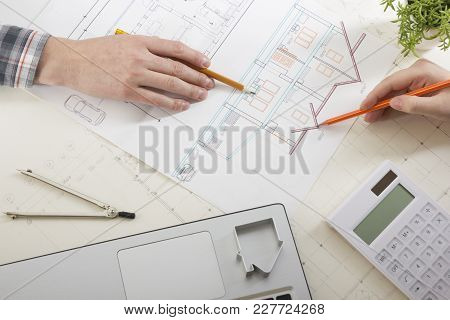 Architects Working On Blueprint. Architects Workplace - Architectural Project, Blueprints, Ruler, Ca