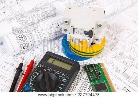 Electrical Engineering Drawings, Modular Circuit Breaker And Digital Multimeter. Electrical Network