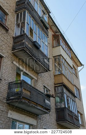 July 20, 2017: Photo Of An Old Collapsing Multi-apartment Brick House. Cheboksary. Russia.