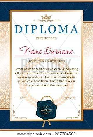 Diploma In The Official, Solemn, Chic, Royal Style In Blue And Gold Colors, With The Image Of The Cr