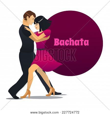 Bachata Dancers. Dancing Couple In Cartoon Style For Fliers Posters Banners Prints Of Dance School A