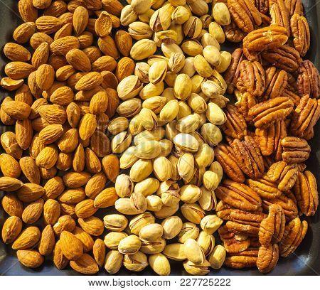 Nuts Almonds, Pistachios And Pecans, Close-up, Set.
