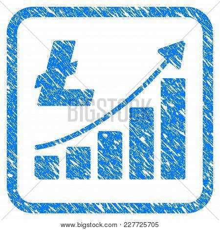 Litecoin Growth Trend Rubber Seal Stamp Imitation. Icon Vector Symbol With Grunge Design And Dust Te