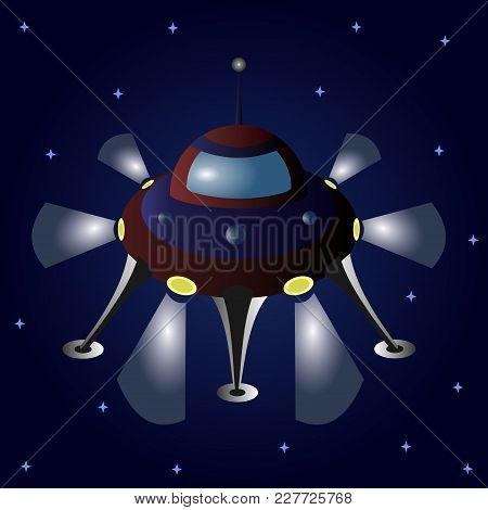 Cartoon Flying Saucer Among The Stars. Ufo. Vector Illustration.
