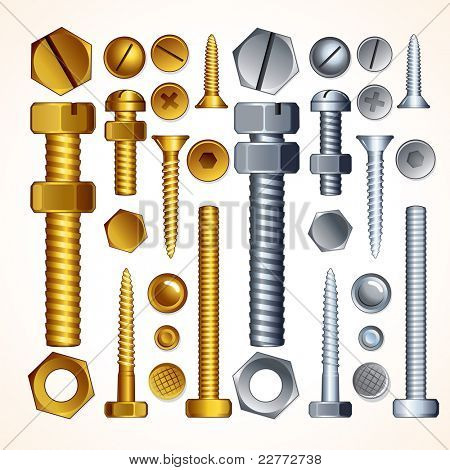 Screws, Bolts, Nuts and Rivets, isolated vector elements for your design