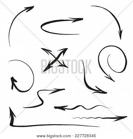 Arrows Set On White Background Hand Made. Brush Ink сalligraphy. Vector Illustration For User Interf