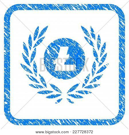 Litecoin Coin Laurel Wreath Rubber Seal Stamp Watermark. Icon Vector Symbol With Grunge Design And D