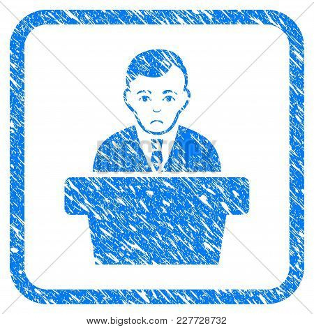Politician Rubber Seal Stamp Watermark. Icon Vector Symbol With Grunge Design And Corrosion Texture