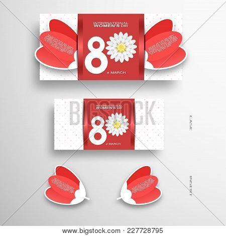 Vector Set Of Greeting Card For International Women's Day With Red Insert In The Form Of Red Tulips