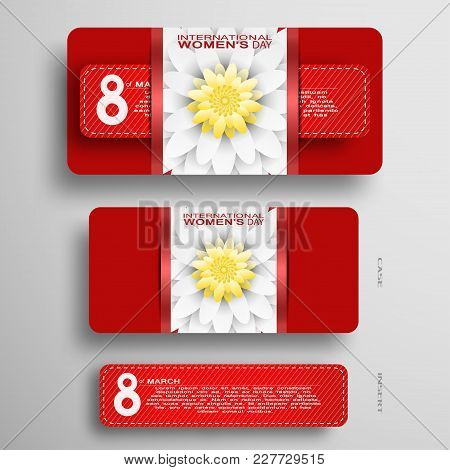 Vector Greeting Red Case With Flower At The Center And Red Insert For 8 Of March - International Wom