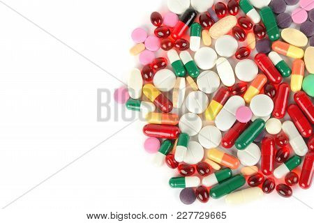 Assorted Pharmaceutical Medicine Pills, Tablets And Capsules Isolated On White Background. Flat Lay,