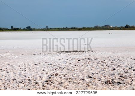 Flat Plain, Steppe, Salt, Salt Lake, Heat And Sky - A Typical Landscape On The Arabatskaya Arrow, Th