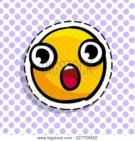 Yellow Wondered Smile On Dots Background. Emoji. Smail In Pop Art Style. Vector Illustration.