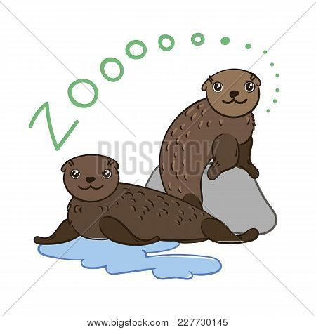Illustration Of Doodle Cute Fur Seals, Hand Drawn Graphic. Vector Cartoon