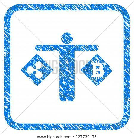 Person Compare Ripple Bitcoin Rubber Seal Stamp Watermark. Icon Vector Symbol With Grunge Design And