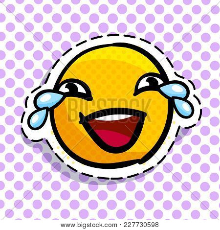 Smile Crying With Laughter On Dots Background. Happy Smail In Pop Art Style. Vector Illustration.