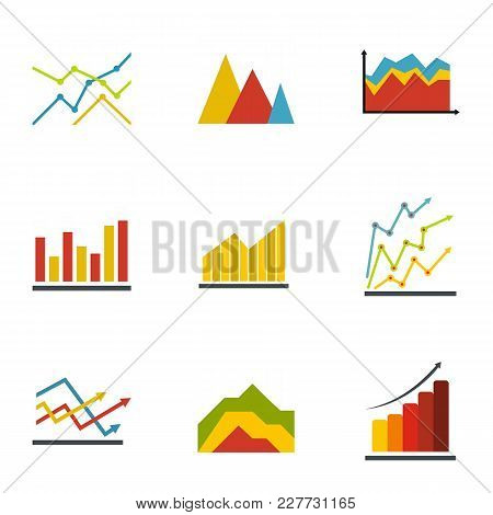 Graph Icons Set. Flat Set Of 9 Graph Vector Icons For Web Isolated On White Background