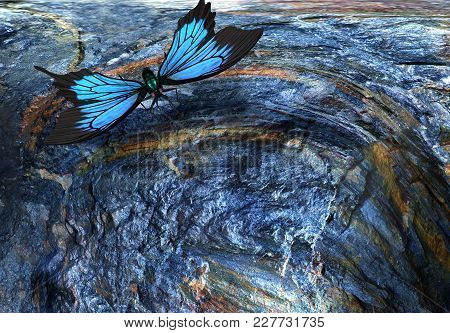 Surreal Landscape: A Large Blue Butterfly Flying Over A Precipice . 3d Rendering.