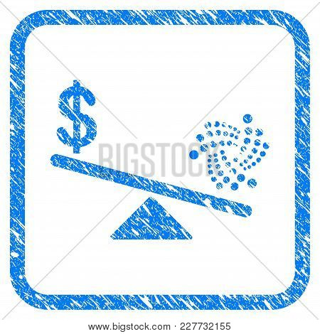 Iota Dollar Balance Scale Rubber Seal Stamp Watermark. Icon Vector Symbol With Grunge Design And Dir