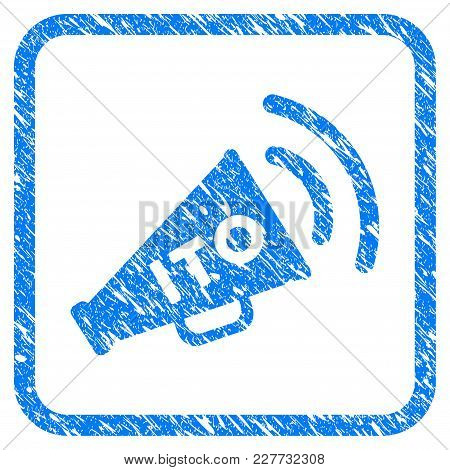 Ito Alert Megaphone Rubber Seal Stamp Watermark. Icon Vector Symbol With Grunge Design And Corrosion