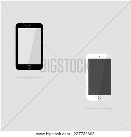 Icons Of White And Black Smart Phone With Blank Screen In Ipad Style . Flat Design, Vector Illustrat