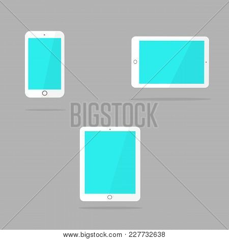 Icons Of White Smart Phone And Tablet With Blank Screen In Ipad Style .flat Design, Vector Illustrat