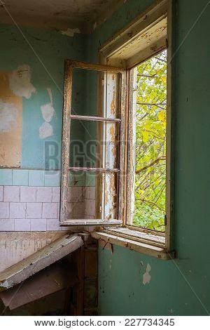 Derelict House Room With Broken Window, Close View