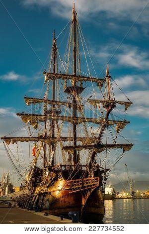 Malaga, Spain - December 26, 2017. 17th Century Spanish Galleon Replica In Malaga Port, Spain.