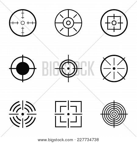 Aim Hunt Icons Set. Simple Set Of 9 Aim Hunt Vector Icons For Web Isolated On White Background