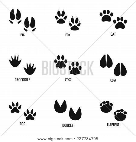 Animal Paw Icons Set. Simple Set Of 9 Animal Paw Vector Icons For Web Isolated On White Background