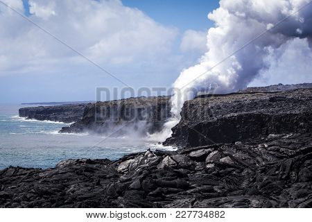 Lava From Kilauea Pouring To The Ocean At Hawaii Volcanoes National Park, Big Island, Hawaii