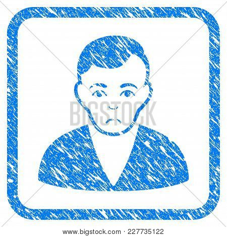 Man Rubber Seal Stamp Imitation. Icon Vector Symbol With Grunge Design And Unclean Texture In Rounde