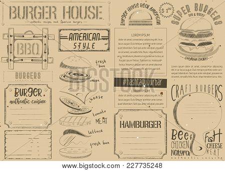 Fast Food Vintage Menu Design. Burger Placemat For Restaurant And Cafe. Hamburger Menu On Craft Pape