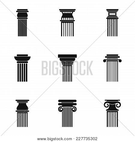 Pillar Icons Set. Simple Set Of 9 Pillar Vector Icons For Web Isolated On White Background
