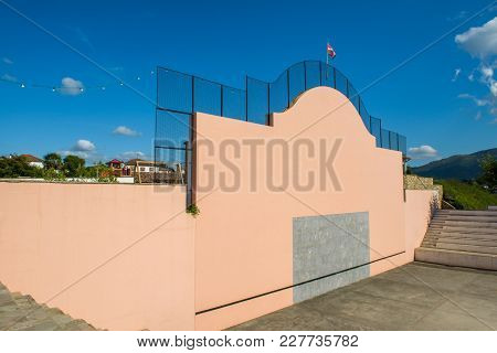 Espelette, France - August 6, 2012: Front Wall In The Basque Country Of France