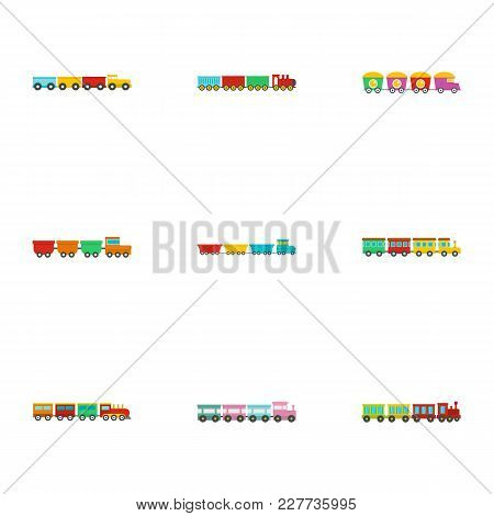 Small Locomotive Icons Set. Flat Set Of 9 Small Locomotive Vector Icons For Web Isolated On White Ba