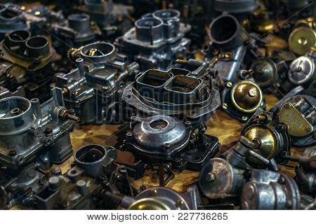 Old Vintage Car Carburetors, Close Up View