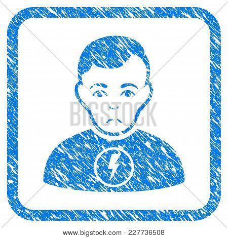 Power Man Rubber Seal Stamp Watermark. Icon Vector Symbol With Grunge Design And Dirty Texture In Ro