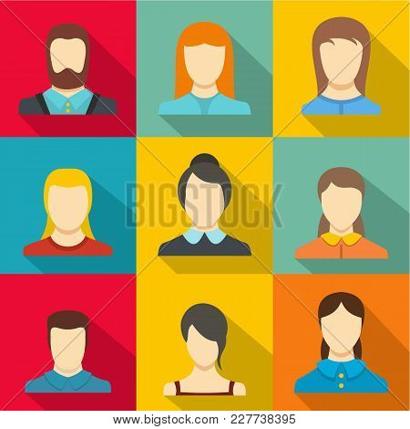 Avatar Person Icons Set. Flat Set Of 9 Avatar Person Vector Icons For Web Isolated On White Backgrou