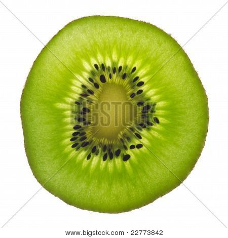 Backlit Slice Of Fresh Green Kiwi Fruit