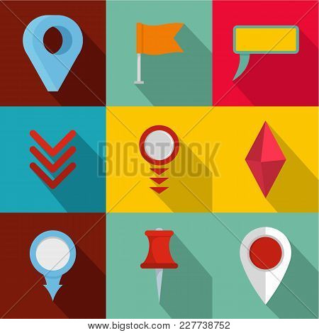 Point On Map Icons Set. Flat Set Of 9 Point On Map Vector Icons For Web Isolated On White Background