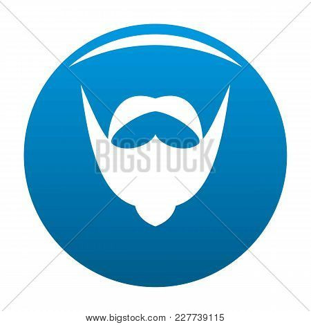 Big Mustache And Beard Icon Vector Blue Circle Isolated On White Background