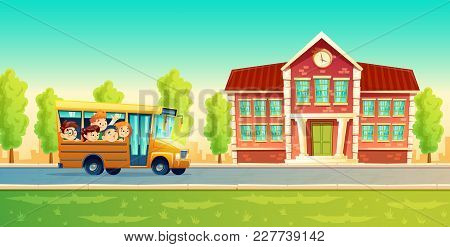 Vector Cartoon Colorful Background With Cheerful Smiling Kids, Happy Pupils, Riding On Yellow Bus. B